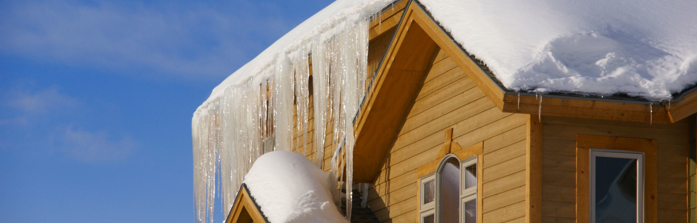 Ice dam on a house