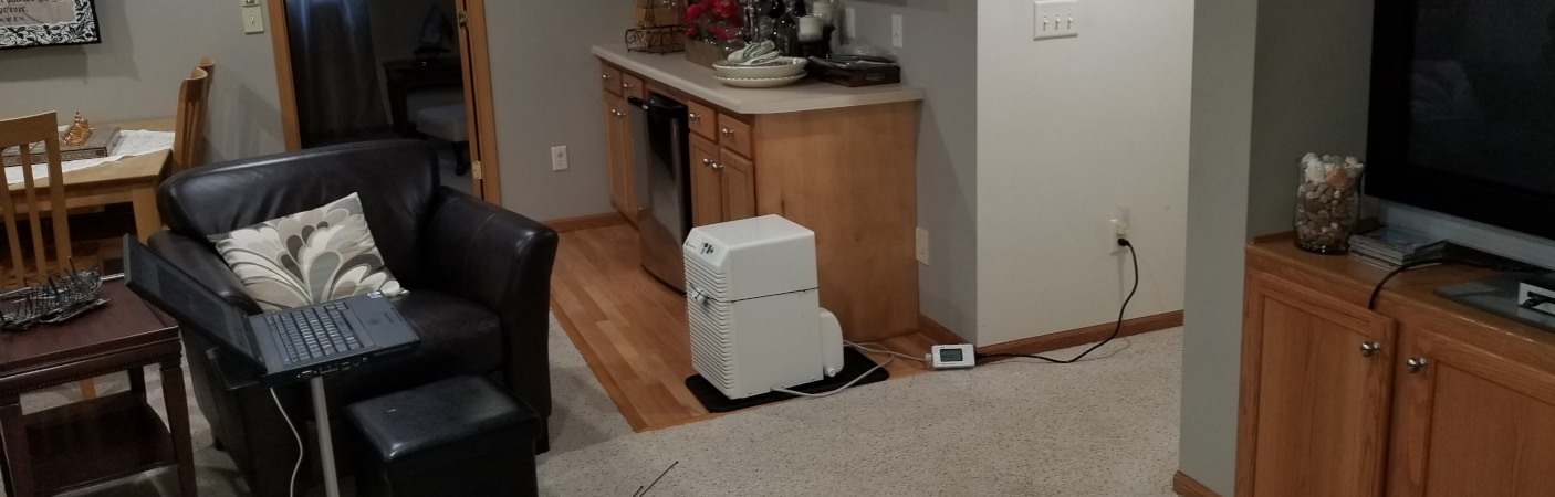 Dehumidifier in a basement