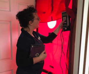Women conducting a blower door test