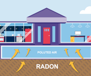 Illustration of radon entering a home
